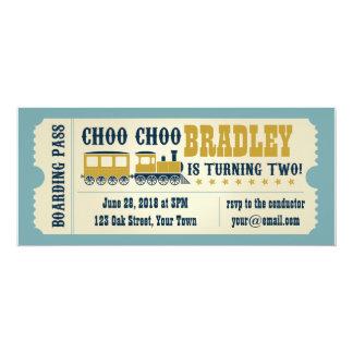 Deuxième invitation de billet de train carton d'invitation  10,16 cm x 23,49 cm