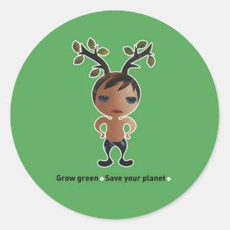 Devenez écolo pour la planète ! sticker rond