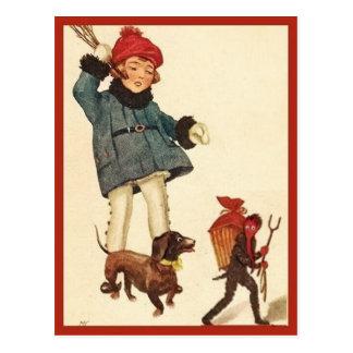 Diable vintage de chasse de fille et de teckel de carte postale