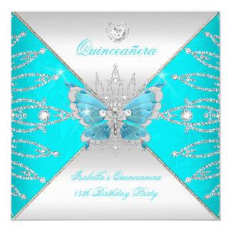 Diadème argenté bleu turquoise de papillon de carton d'invitation  13,33 cm