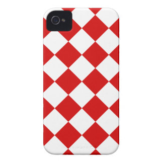 Diag Checkered - blanc et Rosso Corsa Coque Case-Mate iPhone 4