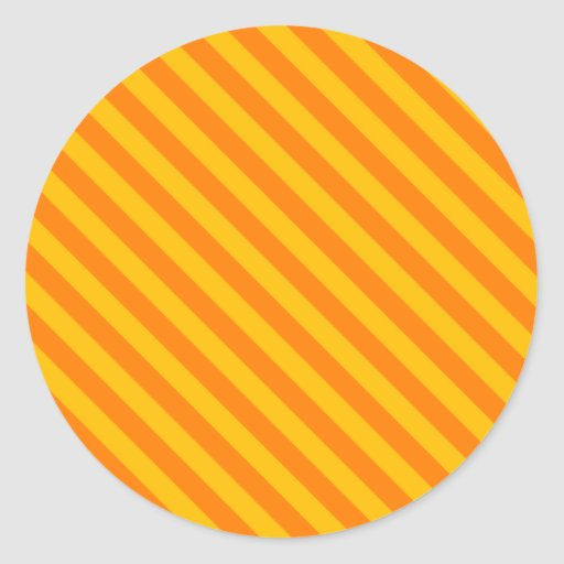 Diagonale Strepen 2 - Oranje en Amber Ronde Stickers