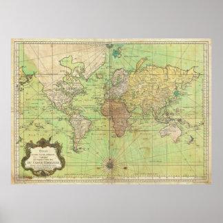 Diagramme 1778 de Bellin ou carte nautique du mond Posters