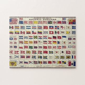 Diagramme vintage de drapeaux nationaux - créé puzzle