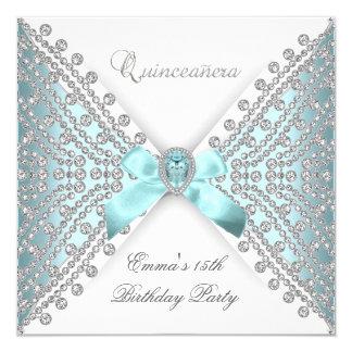 Diamant blanc bleu turquoise de Faux de Carton D'invitation 13,33 Cm