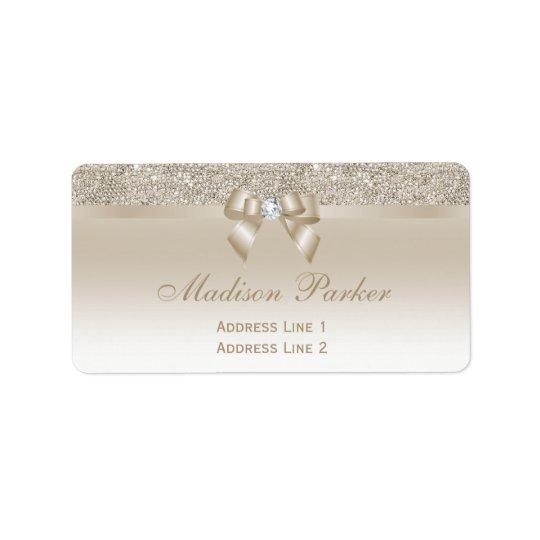 Diamant de ruban d'arc de paillettes de Champagne Étiquettes D'adresse