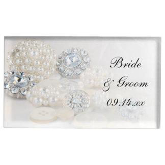 Diamant en het Witte Huwelijk van de Knopen van de Tafelkaart Houder