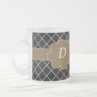 Diamant noir décoré d'un monogramme tasse givré