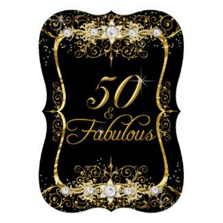 Diamant noir élégant 50 d'or et invitation