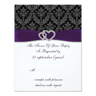 diamante RSVP l'épousant violet de damassé Carton D'invitation 10,79 Cm X 13,97 Cm