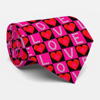 Diamants d'AMOUR, coeurs rouges Checkered - Cravate