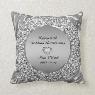 Diamants et 25ème anniversaire de mariage d'argent oreiller