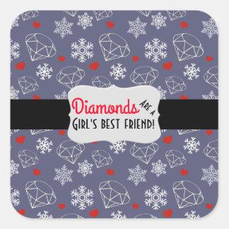 Diamants et flocons de neige de pierre gemme sticker carré