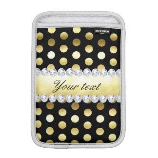 Diamants noirs de pois de feuille d'or housse pour iPad mini