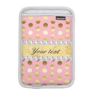 Diamants roses de pois de feuille d'or housse pour iPad mini