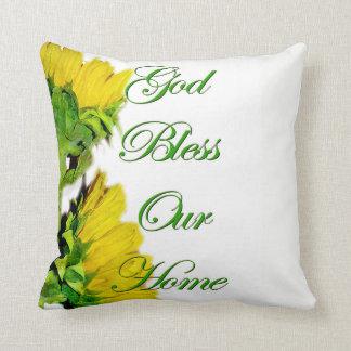 Dieu bénissent notre coussin à la maison de