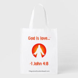 Dieu est amour sac réutilisable