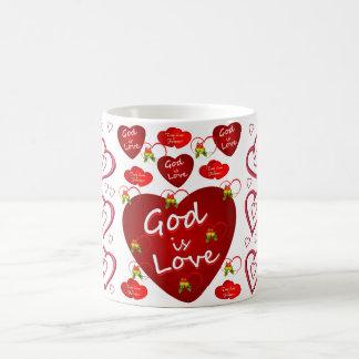 Dieu est voyageur rouge de tasse de thé de café