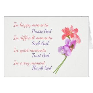 Dieu inspiré floral de recherche de pois doux carte