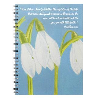 Dieu vêtx la végétation du carnet d'écriture