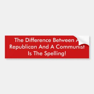 Différence entre un républicain et un communiste autocollant de voiture