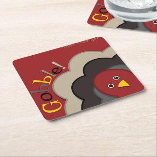 Dinde de dissimulation de thanksgiving dessous-de-verre carré en papier