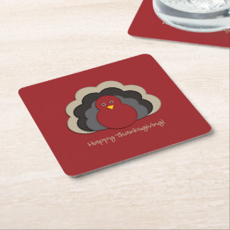 Dinde de thanksgiving dessous-de-verre carré en papier