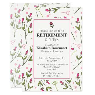Dîner assez rose de retraite de fleurs sauvages carton d'invitation  12,7 cm x 17,78 cm