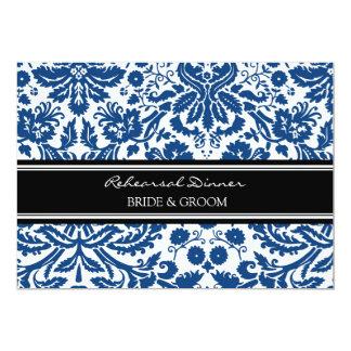 Dîner de répétition de damassé de noir bleu carton d'invitation  12,7 cm x 17,78 cm