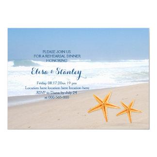 Dîner de répétition de mariage de plage d'été carton d'invitation  12,7 cm x 17,78 cm