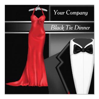 Dîner d'entreprise de cravate noire carton d'invitation  13,33 cm