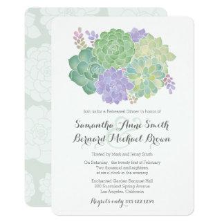 Dîner élégant de répétition de bouquet succulent carton d'invitation  12,7 cm x 17,78 cm