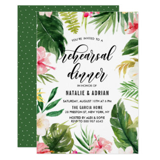 Dîner floral tropical de répétition de cadre carton d'invitation  12,7 cm x 17,78 cm