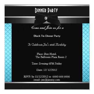 Dîner formel d'anniversaire de cravate noire carton d'invitation  13,33 cm