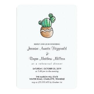Dîner minimal rustique de répétition de cactus carton d'invitation  12,7 cm x 17,78 cm