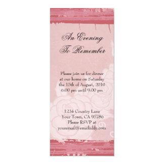Dîner rose chic carton d'invitation  10,16 cm x 23,49 cm