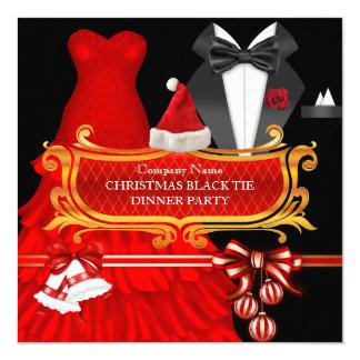 Dîner rouge de cravate noire de Noël d'entreprise Carton D'invitation 13,33 Cm