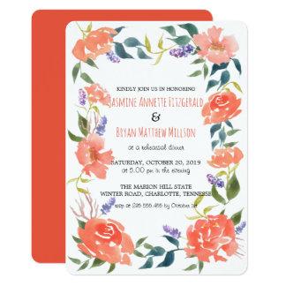Dîner rouge de répétition de guirlande de fleurs carton d'invitation  12,7 cm x 17,78 cm