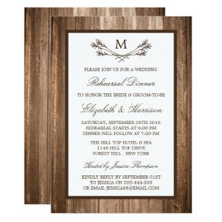 Dîner rustique de répétition de branche de carton d'invitation  12,7 cm x 17,78 cm