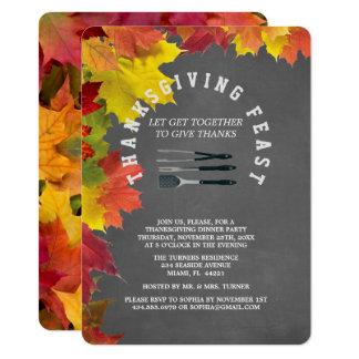 Dîner rustique de thanksgiving de tableau carton d'invitation  11,43 cm x 15,87 cm