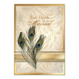 dîner vintage élégant de répétition de paon de carton d'invitation  12,7 cm x 17,78 cm