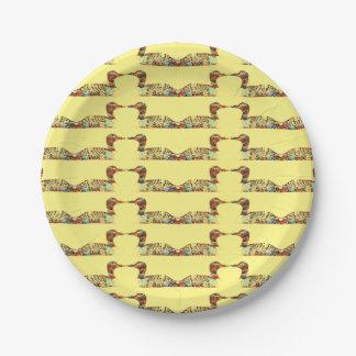 Dingues sur le jaune assiettes en papier