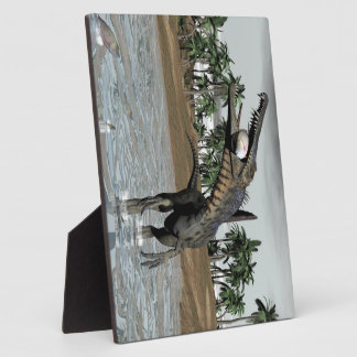 Dinosaure de Spinosaurus mangeant des poissons - Impressions Sur Plaque