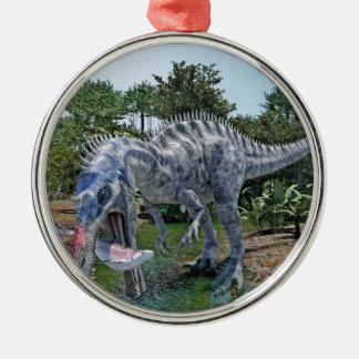 Dinosaure de Suchomimus mangeant un requin dans un Ornement Rond Argenté