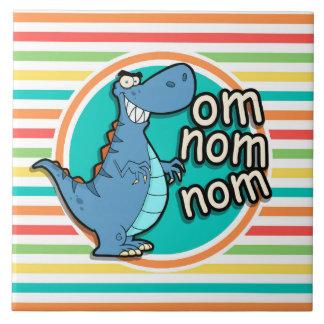 Dinosaure drôle Rayures lumineuses d arc-en-ciel Carreau