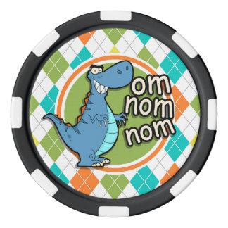 Dinosaure drôle sur le motif à motifs de losanges jetons de poker