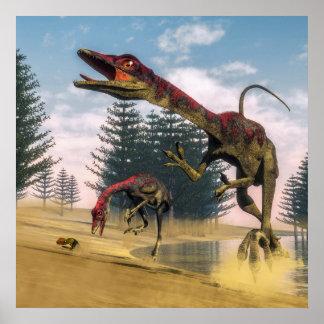 Dinosaures de Compsognathus - 3D rendent Poster
