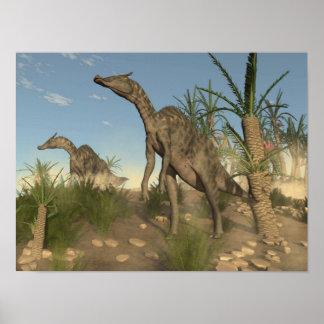 Dinosaures de Saurolophus - 3D rendent Poster