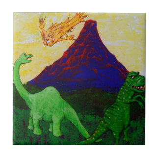 Dinosaures étonnés petit carreau carré