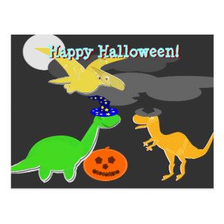 Dinosaures heureux de carte postale de Halloween